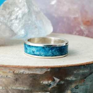 Sterling Silver Keepsake Wide Inlay Ring