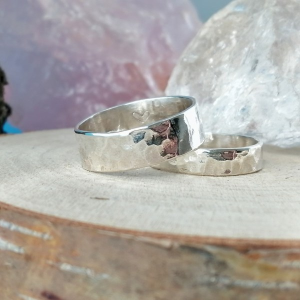 Sterling Silver Rustic Hammered Couples Rings