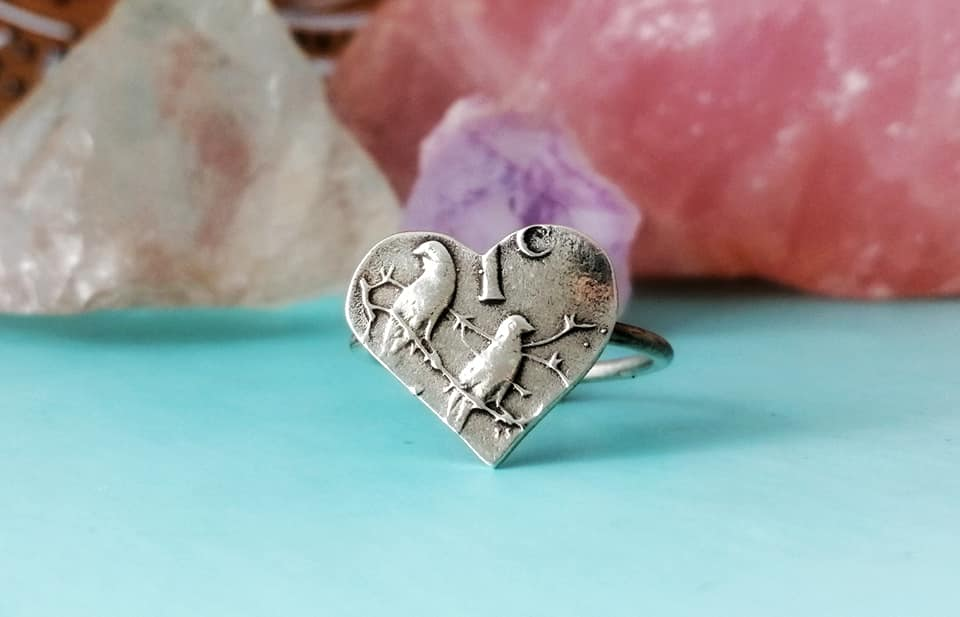 Sterling Silver 1c Coin Heart Ring