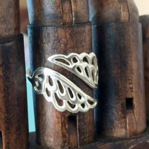 Sterling Silver Adjustable Double Angel Wing Ring