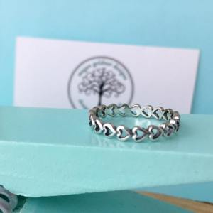 Sterling Silver Continuous Open Hearts Ring