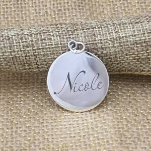 Sterling Silver Engraved Coin Charm