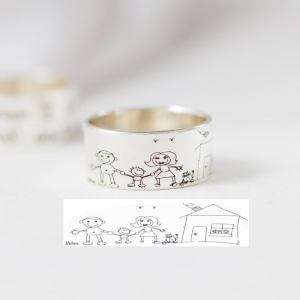 Sterling Silver Engraved Kids Drawing Ring 8mm