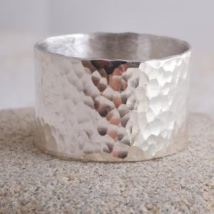 Sterling Silver Rustic Hammered Ring 12mm