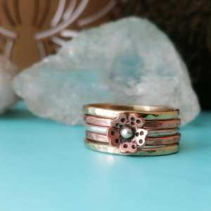 Tri-Color Rustic Cherry Blossom Stack Ring