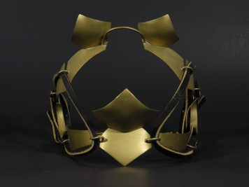 "Blinders, brass and leather. 7""x6""x7"""