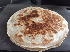 Easy Re-Fried Bean Quesadillas just out of the pan-in its whole form