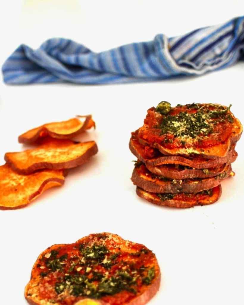 vegan sweet potato bites stacked