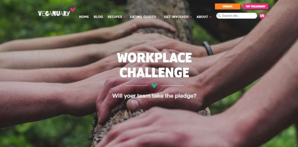 """Veganuary workplace challenge. Image shows multiple peoples hands placed on a log facing each other. Text says """"will your team take the pledge?"""""""