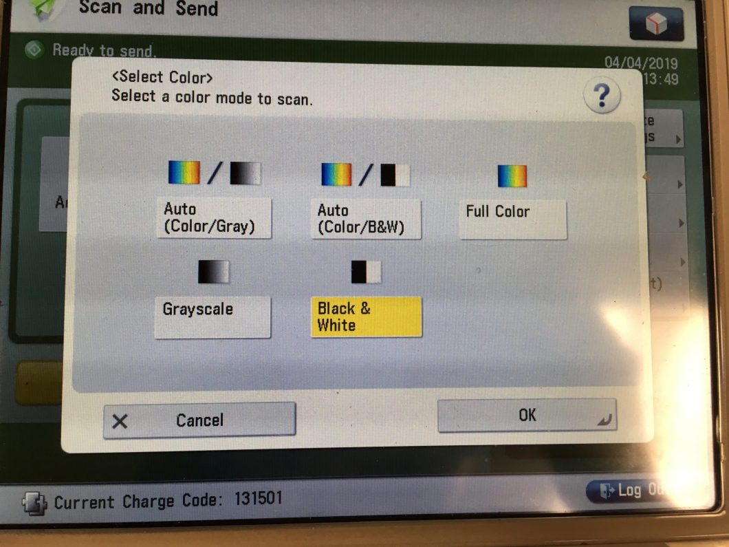 Select color screen.