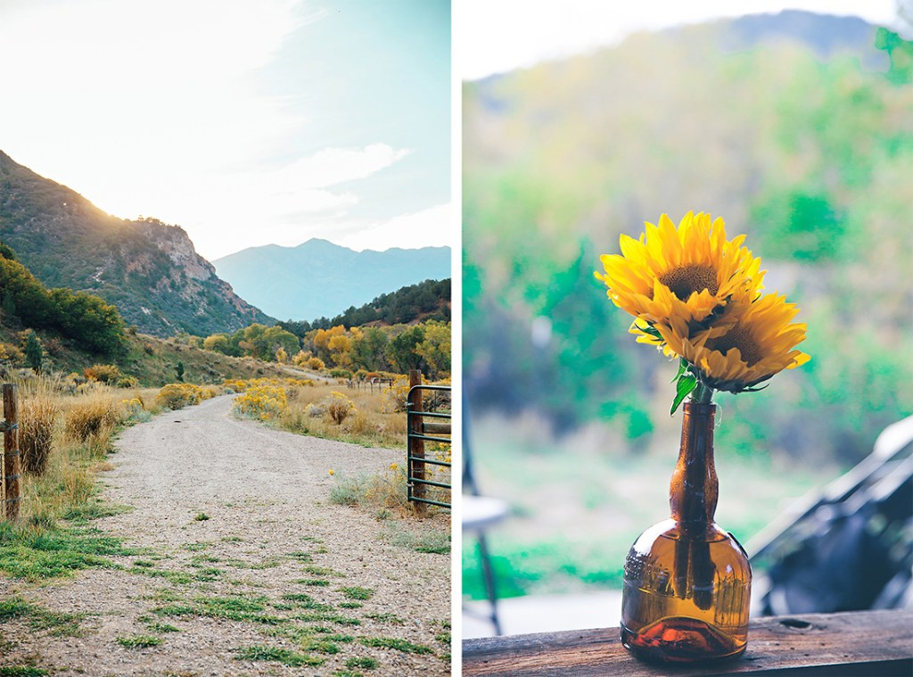 floral table decor at country wedding by wyoming wedding photographer