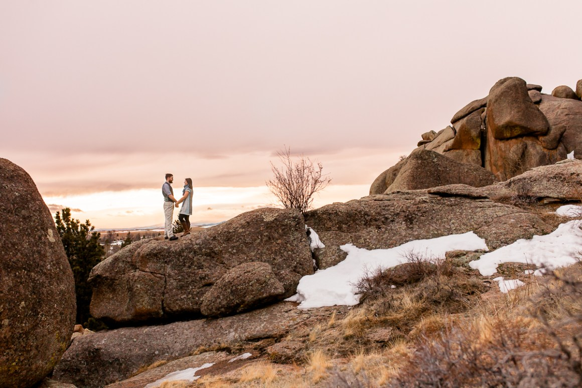 Sunset engagement session at vedauwoo in medicine bow national forest