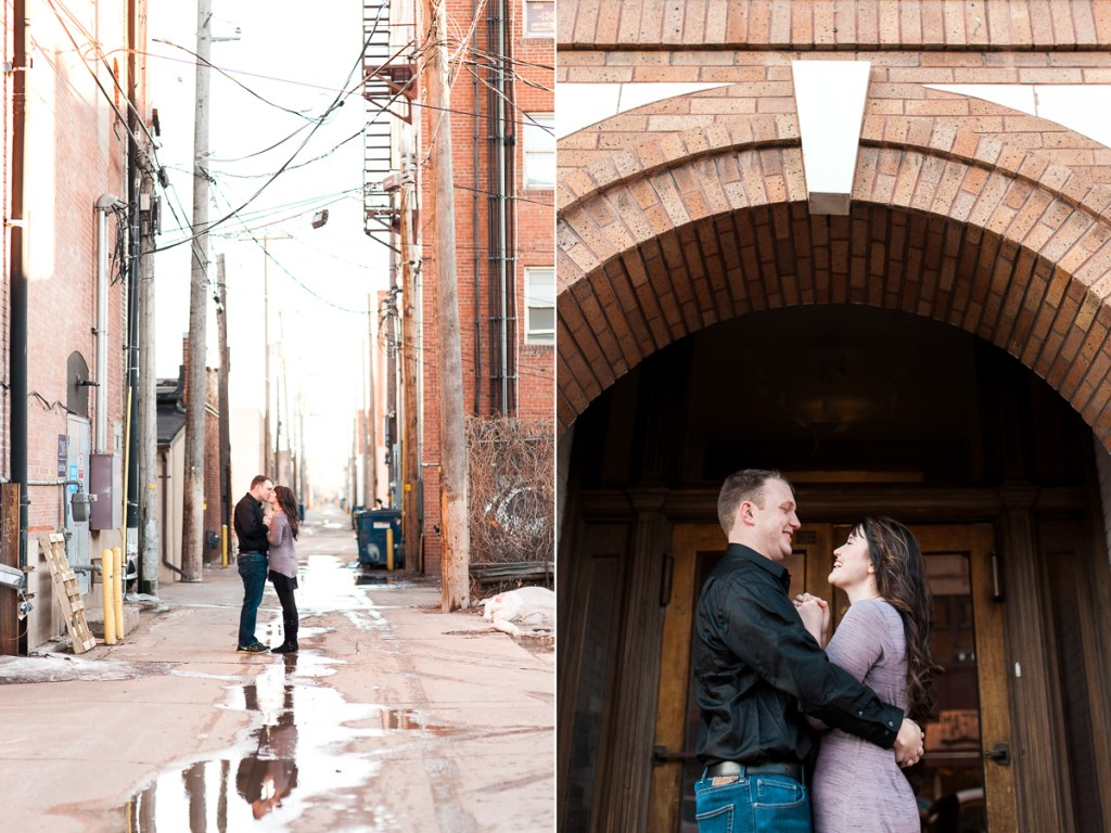 Downtown Laramie Wyoming couples photography by Wedding photographer Megan Lee Photography.