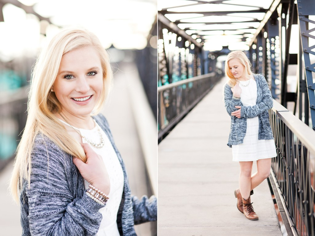 Senior portraits on walking bridge in downtown Laramie, Wyoming, by Megan Lee Photography.