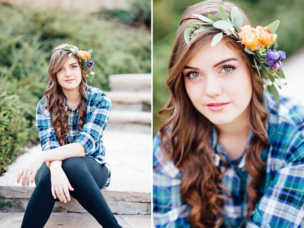 Floral crown senior portrait photography session in Laramie Wyoming. Senior portraits by Megan Lee Photography based in Laramie Wyoming.