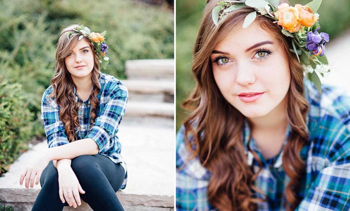 Floral crown senior portrait photography session in Laramie Wyoming. Senior portraits by Megan Lee Photography based in Laramie Wyoming.