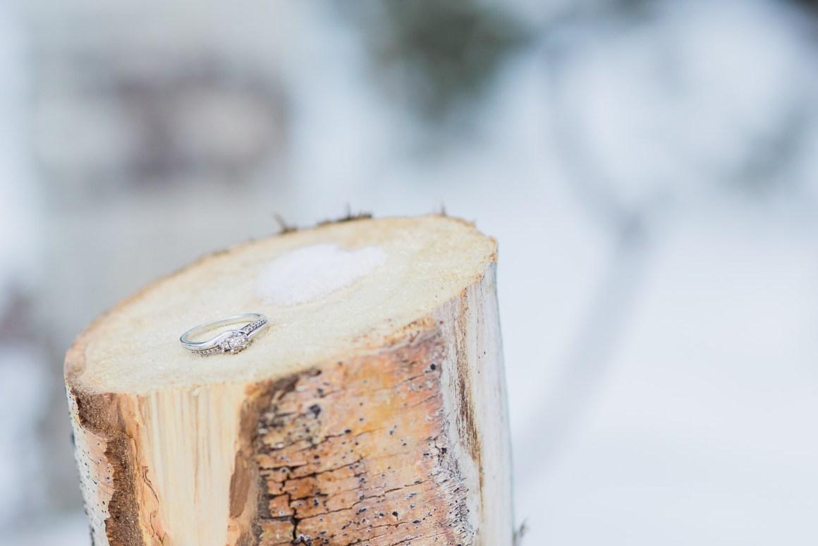 Snowy Range Mountains Wyoming Winter Engagement Photography by Laramie Wyoming Based wedding photographer