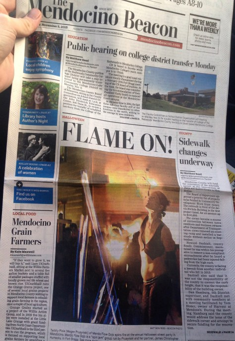 Our fire performance on Halloween made the front page of the Mendocino Beacon!