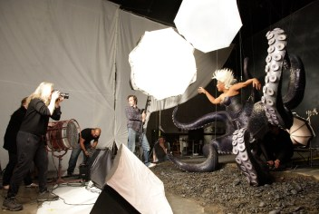 Queen Latifah portrays the villainous Ursula from DisneyÕs ÒThe Little MermaidÓ in a new image created by world-renowned photographer Annie Leibovitz for Disney Parks. Here, Queen Latifah and Leibovitz are shown during the photo shoot on November 22, 2010, in Los Angeles, Calif. (Scott Brinegar/DisneyParks.com)