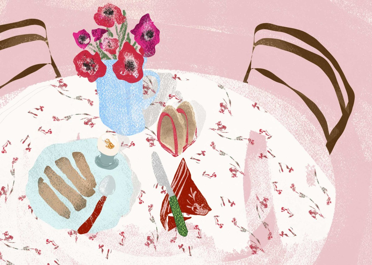 illustration of a breakfast table with eggs and soliders by editorial illustrator Megan St Clair
