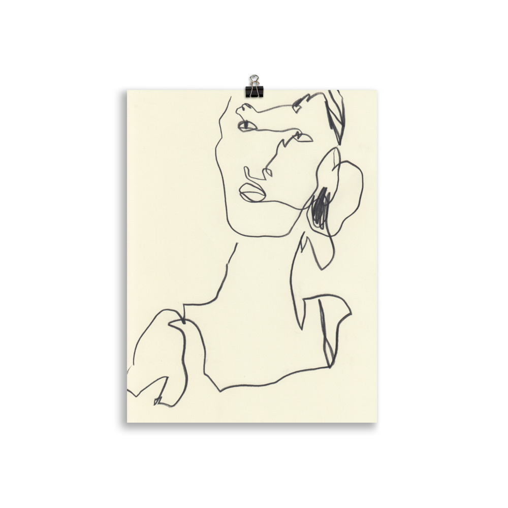 abstract line art of a Woman looking by Megan St Clair, original artwork