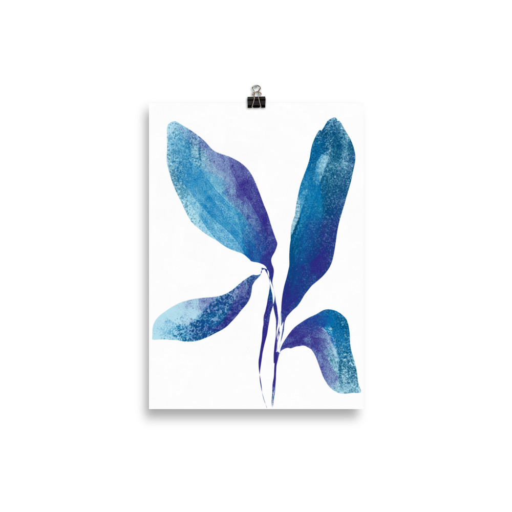 Plant minimal blue artwork from Megan St Clair on a white background perfect art for interior