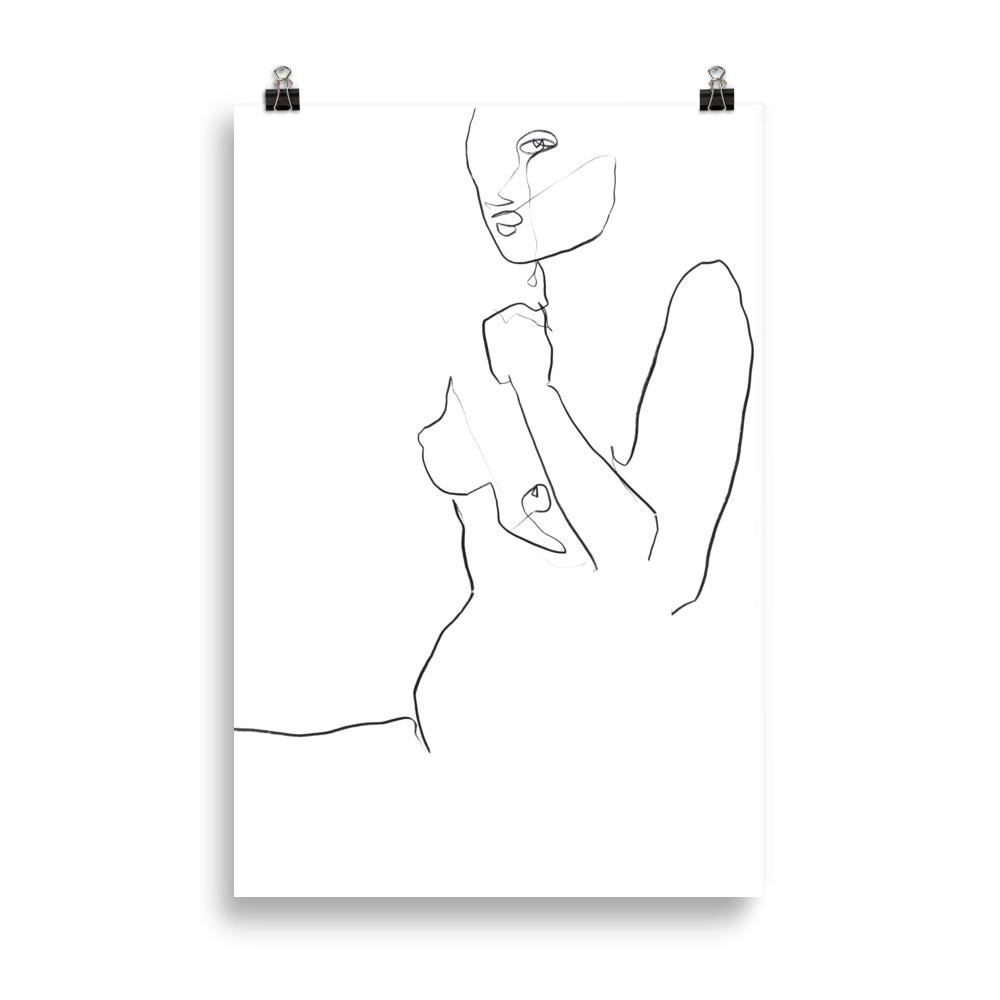 'Looking' nude line drawing | Art Print