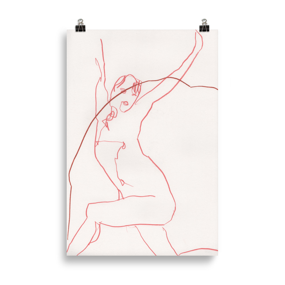 Just stretch' nude woman line drawing   Art print