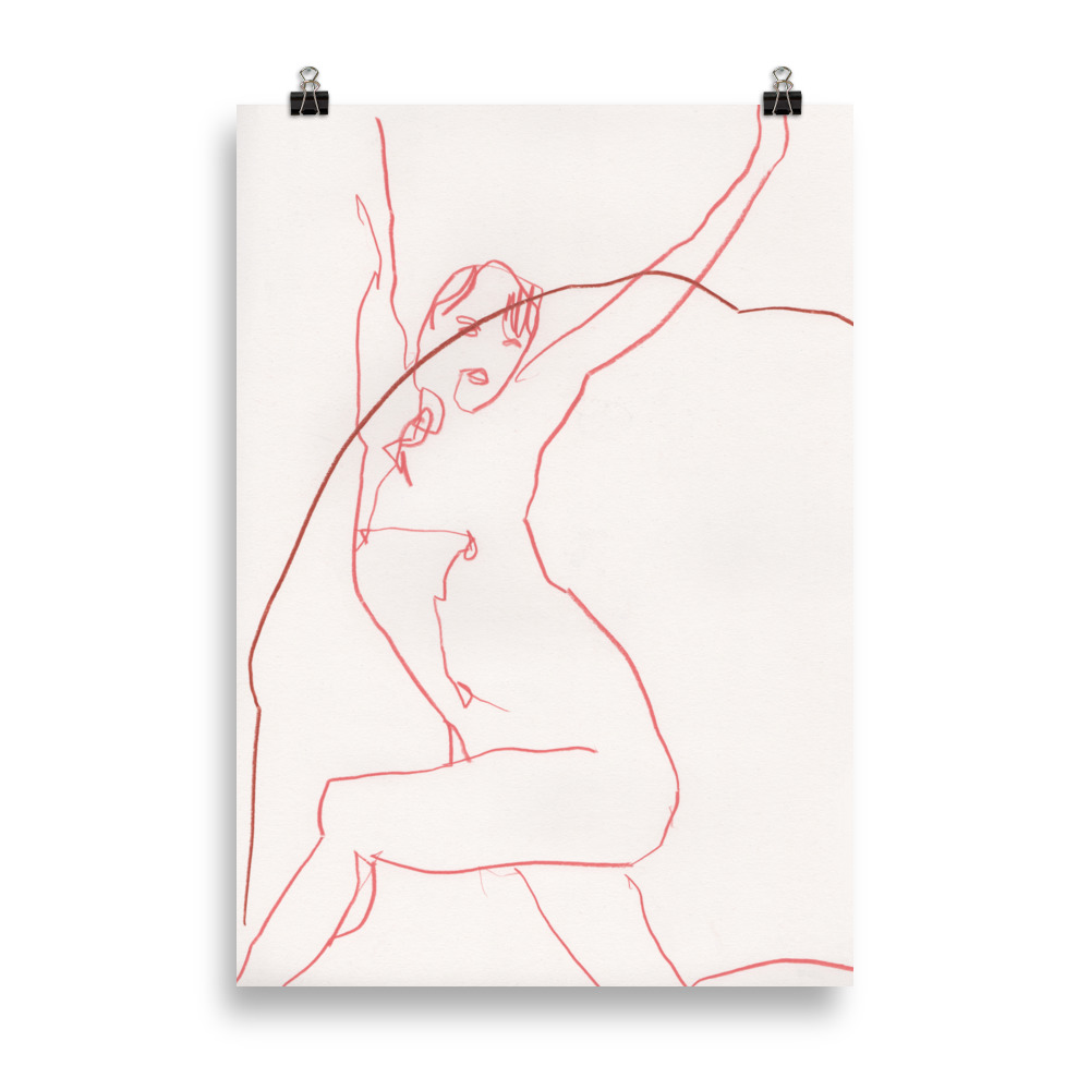 Just stretch' nude woman line drawing | Art print