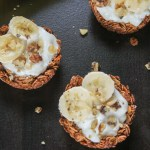 Granola Cups topped with bananas and walnuts