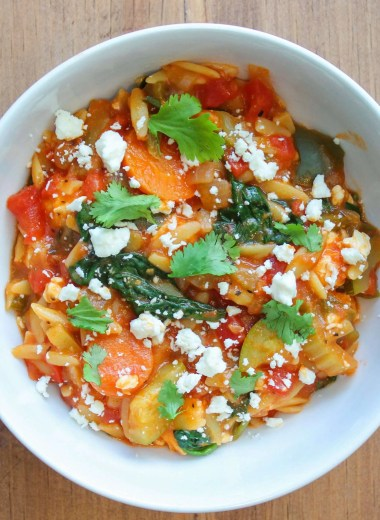 bolw of Farmers market orzo topped wiht feta