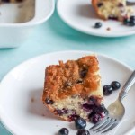 Sour Cream Blueberry Coffee Cake on a white plate