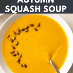 Squash Soup with toasted pepitas on top.