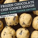 Frozen cookie dough balls in a bag.