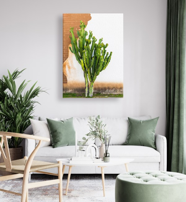 Canvas print of a cactus hanging in a living room.