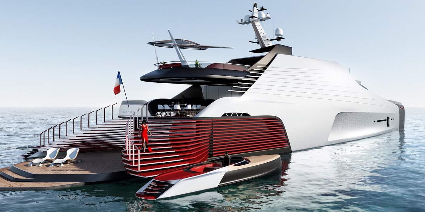 CARAT 187, un enorme mega yate de $130 millones con un elegante diseño asimétrico inspirado en las alfombras rojas de las celebridades