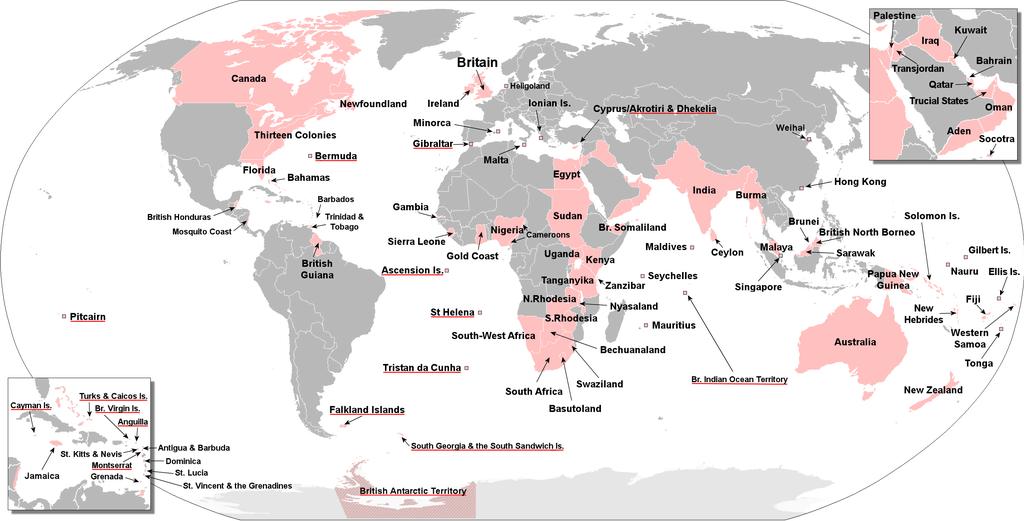 Mapa del Imperio Británico