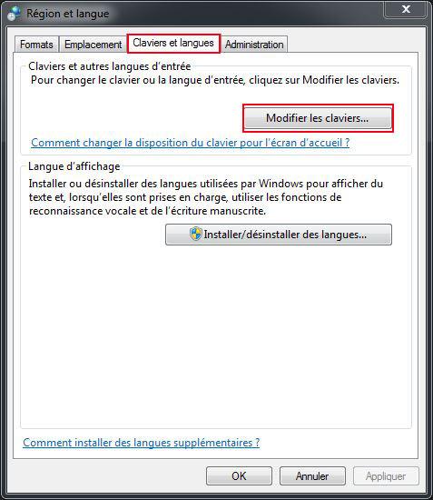 Claviers et langues windows 7