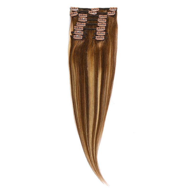 Clip-On Par Natural 60cm 100gr Balayage Saten Mediu/Blond Opal/Saten Mediu 6/22/6
