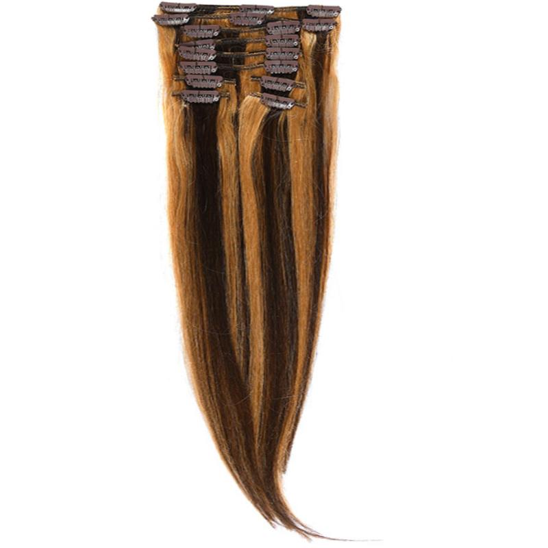 Clip-On Par Natural MegaVolum 50cm 240gr Saten Ciocolatiu Suvitat/Blond Miere #4/27
