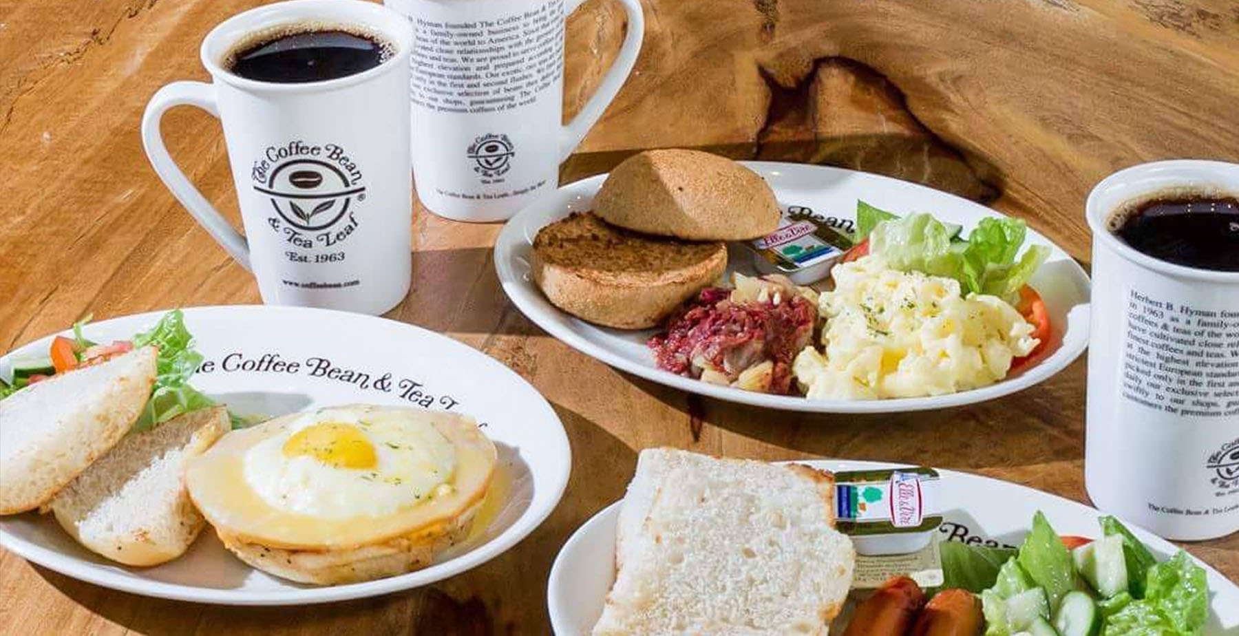 Breakfast dishes and coffee from Coffee Bean and Tea Leaf