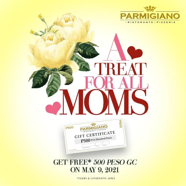 Get a bounce back voucher at Parmigiano worth Php 500 for Php 3,000 worth of purchase (Dine-in & Take-out)