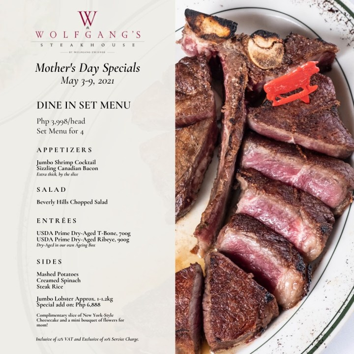 Wolfgang's Steakhouse: Mother's Day Specials Dine-in set Menu