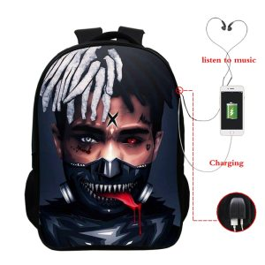 16 Inch Unisex School Bags Xxxtentacion Wallpapers Backpacks Pop Star Bagpack Travel Laptop Backpack...
