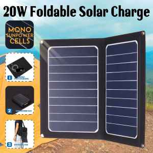 Sunpower 20W 5V Foldable Solar Panel Cells Charger Solar Power Bank USB Backpack Camping Hiking for ...