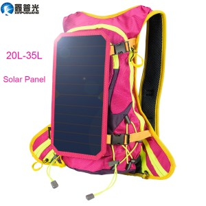 Xinpuguang 6W 6V USB Pink Backpack Solar Panel Battery Power Bank Charger for Smart Phone Outdoor Ca...