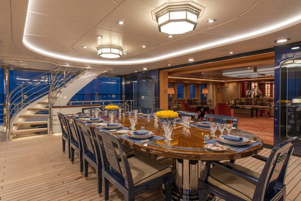 Aurora yacht dining