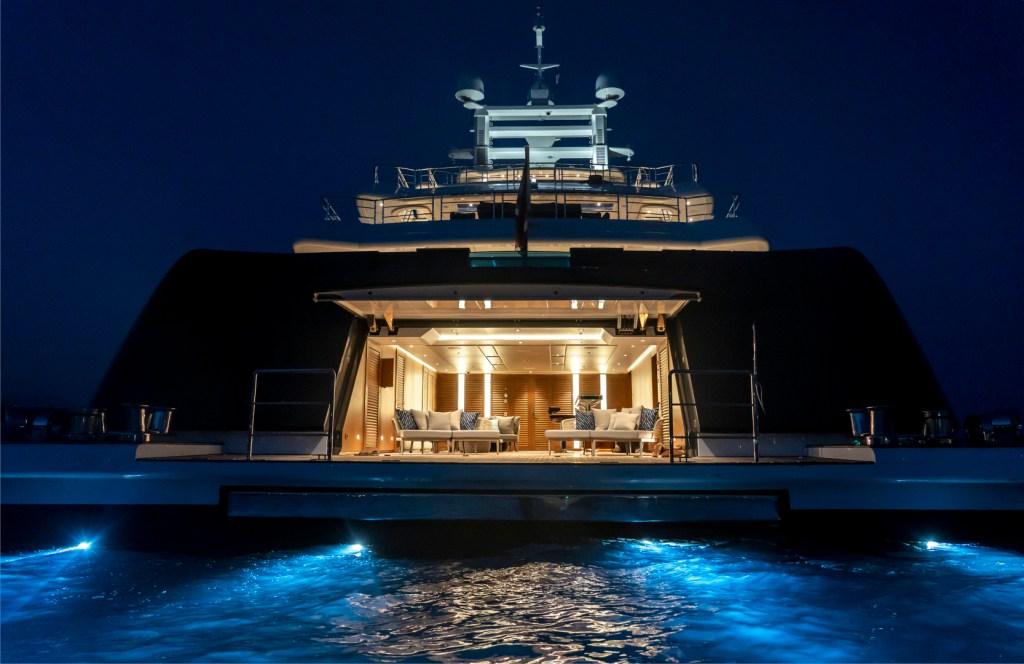mega yacht aft deck night