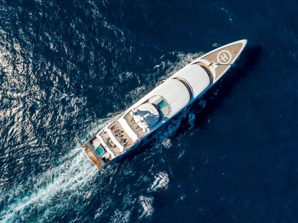 mega yacht bird view