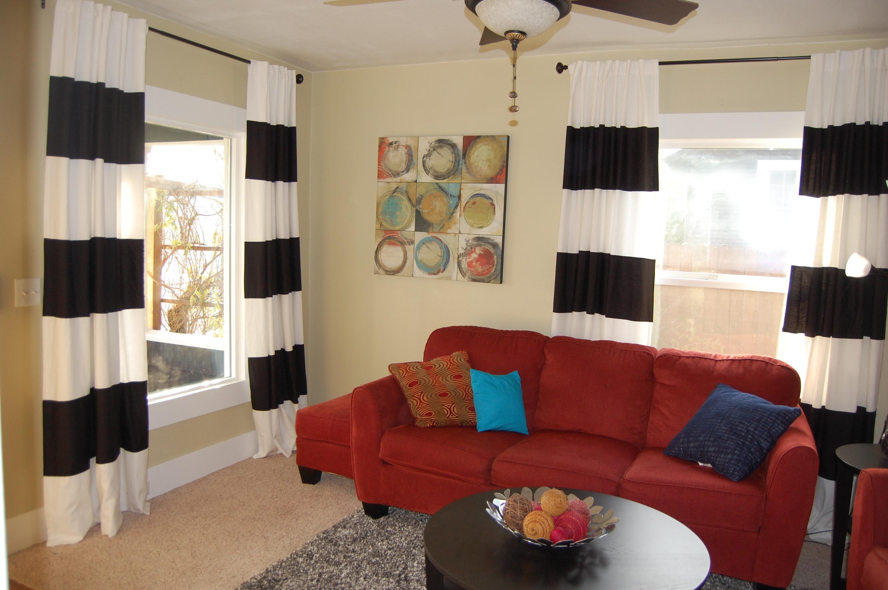 diy black white striped curtains